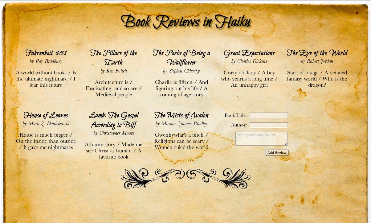Book Haikus webpage