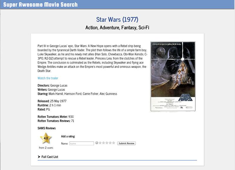 Screenshot of Movie App