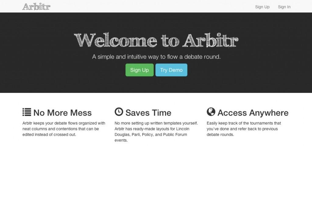 Arbitr Splash page